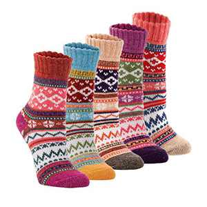 Womens 5 Pairs Vintage Style Winter Warm Thick Knit Wool Cozy Crew Socks, free size