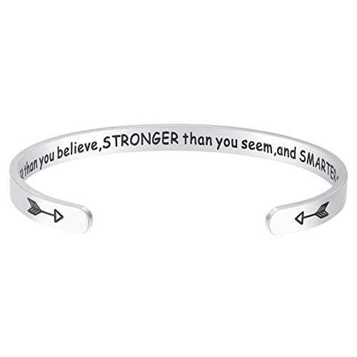 Fesciory Inspirational Bracelets for Women,Stainless Steel Engraved Personalized Positive Mantra Quote Keep Going Cuff Bangle College Graduation Encouragement Gifts for Her (Braver)