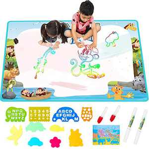 Extra Large Aqua Water Drawing Magic Mat - Free to Fly 2021 Updated Color Painting Doodle Board Doodle Magic Mat with No Mess, Educational Kid Toys Gift for Boys and Girls Age 3 4 5 6 7