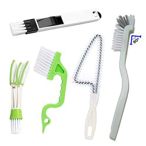 Window or Sliding Door Track Cleaning Brush, Tile Lines Brush,Window Blind Duster, 2-in-1 Windowsill Sweeper, Hand-held Groove Gap, 5 Pieces