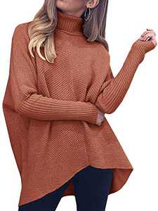 Nulibenna Womens Turtleneck Long Batwing Sleeve Sweater Asymmetric Hem Casual Winter Pullover Ribbed Knit Tops Red