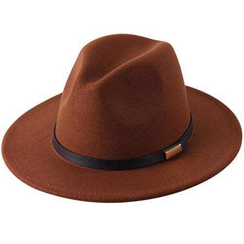 Lanzom Women Lady Retro Wide Brim Floppy Panama Hat Belt Buckle Wool Fedora Hat (01-Coffee)