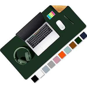 """Aothia Office Desk Pad, Natural Cork & PU Leather Dual Side Large Mouse Pad, Laptop Desk Table Protector Writing Mat Easy Clean Waterproof for Office Work/Home/Decor (Dark Green,31.5"""" x 15.7"""")"""