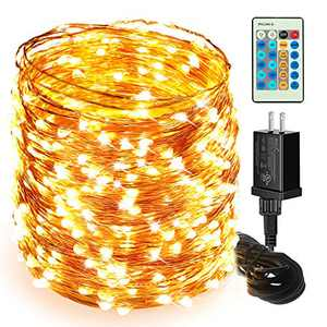 Moobibear LED String Lights, 164ft 500 LED Fairy Lights Plug in, Dimmable Outdoor Tree Lights, UL-Listed Warm White Copper String Lights Remote Control for Room Patio Wedding Christmas Festival Decor