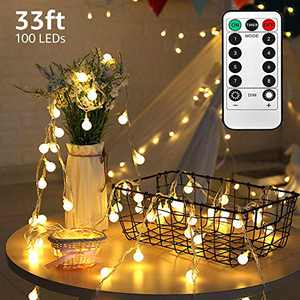 LED String Lights,33ft 100 Led Waterproof Ball Lights, Battery Powered Starry Fairy Globe String Lights with Remote Timer for Bedroom, Garden, Christmas Tree, Wedding, Party (Warm Light)