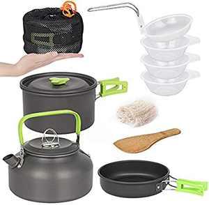 RegeMoudal Camping Cooker Set Camping Pot Outdoor Cookware Set Equipment Mountaineering Pot Aluminum Cooker BBQ Tableware Camping Pot
