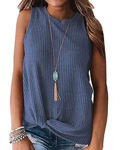 Womens Waffle Knit Tank Tops Cute Twist Knot Sleeveless Round Neck Blouse Plain Shirts Royal Blue S