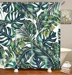 LIVILAN Shower Curtain Tropical Leaf Monstera Fabric Bathroom Curtains Set with Hooks Green Summer Bathroom Decor Machine Washable 72X78 Inches