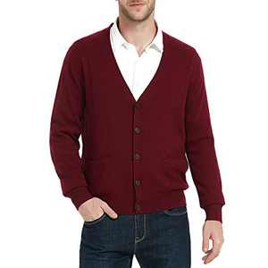 Kallspin Men's Cardigan Sweater Cashmere Wool Blend V Neck Buttons Cardigan with Pockets(Burgundy Red, 2X-Large)