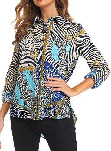 VZULY Fall Clothes for Women, Ladies Cuffed Sleeve Chiffon Button Down Shirt Blue M