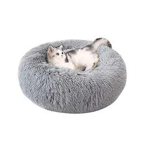 NIBESSER Calming Donut Dog Bed for Small Medium Large Dogs, Washable Plush Round Cat Bed, Anti-Slip Faux Fur Fluffy Donut Cuddler Anti Anxiety Dog Bed, Fits up to 15-100 lbs, 23/31/43/47 inches