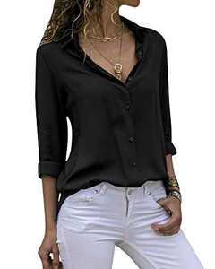 Yidarton Women's Long Sleeve V Neck Chiffon Blouses Tops Button Down Business Shirts(Black,L)