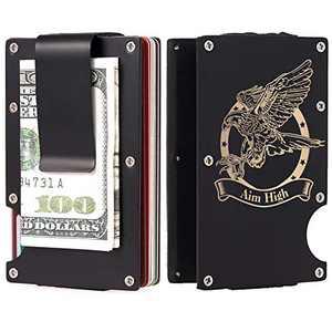 SUDESIMO Aluminum Pocket Wallet Slim RFID Front Minimalist Metal Money Clip Blocking Credit Card Case with US Air Force Slogan for Men, 1.black, Medium