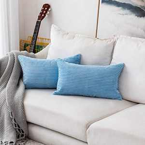 Home Brilliant Decorative Striped Corduroy Rectangle Cushion Covers Oblong Pillow Covers for Couch, 12 x 20 Inches, 2 Pack, Baby Boy Blue