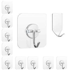 FOWOKAW Heavy Duty Self Wall Hooks,Transparent Adhesive Hooks 15lb(Max),11 Pack