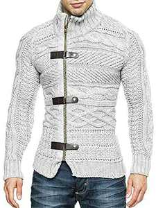 Makkrom Mens Cardigan Sweater Slim Fit Turtleneck Long Sleeve Zipper Winter Cable Knit Solid Sweaters Grey