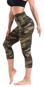 CAMPSNAIL Printed Capri Leggings for Women - High Waisted Tummy Control Capris Pants Yoga Workout Athletic Cycling Tights Camo