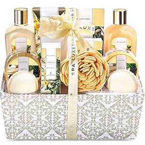 Spa Gift Basket for Women, Spa Luxetique Spa Gift Set for Women, Vanilla Scented Bath Set, 12 Pcs Relaxing Home Spa Kit with Bath Salts, Bath Bombs, Body Scrub, Best Gift Baskets for Women.