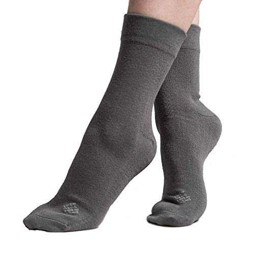 Sheebo 6 Pairs Womens/Mens High Ankle Solid Color Cotton Crew Socks, Unisex Socks (Gray, Medium)