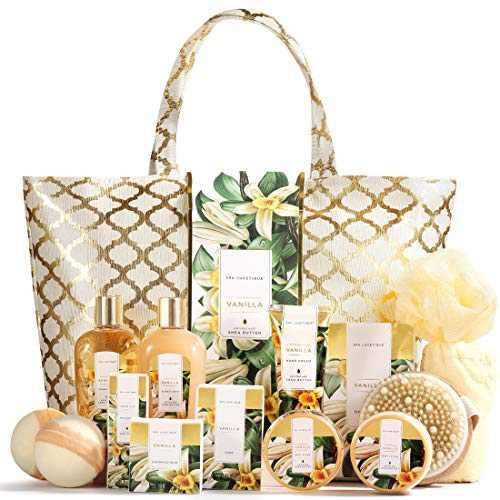 Spa Luxetique Spa Gift Basket, Vanilla Gift Baskets for Women, Luxury 15 Pcs Bath Gift Set, Relaxing at Home Bath Set with Massage Oil, Bath Salt, Bubble Bath, Beauty Gift Set for Women.