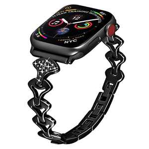 PUGO TOP Replacement for Apple Watch Band 42mm 44mm Series 5 4 3 2 1 Iwatch Accessory Replacement Bracelet Band Cuff for Women(42mm/44mm, Black)