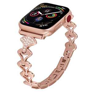 PUGO TOP Replacement for Apple Watch Band 42mm 44mm Series 5 4 3 2 1 Iwatch Accessory Replacement Bracelet Band Cuff for Women(42mm/44mm, Rose Gold)