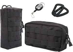LefRight 2 Pack Molle Pouches EDC Compact Modular Accessories Bag Pack with Carabiner Reel Clip