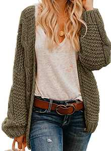 Actloe Women Open Front Chunky Knit Long Sleeve Cardigan Casual Outwear As Shown Large