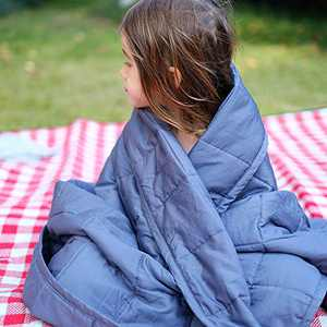 ZonLi Cooling Bamboo Weighted Blanket 7 lbs(41''x60'' Grey Navy), Cool Summer Kids Weighted Blanket