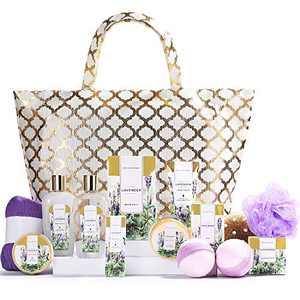 Spa Luxetique Spa Gift Basket, Gift Set for Women - 15pcs Lavender Spa Baskets, Relaxing Spa Kit Includes Bubble Bath, Bath Bombs, Massage Oil, Bath Set for Women Gifts, Best Gifts for Women.