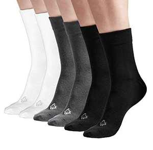 Sheebo 6 Pairs Womens/Mens High Ankle Solid Color Cotton Crew Socks, Unisex Socks (Black, Gray, White, Large)