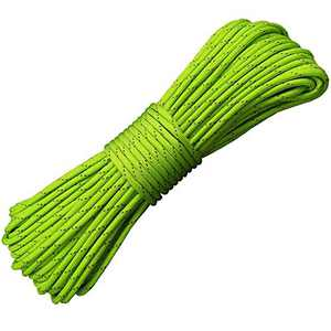 Woltechz Parachute Cord 550 Survival Reflective Paracord, 100 Feet Type III 9 Strand 100% Nylon Core - 550lb Parachute Cords Tent Rope for Camping, Bracelet Braiding, Crafting, Tie-Downs (Green)