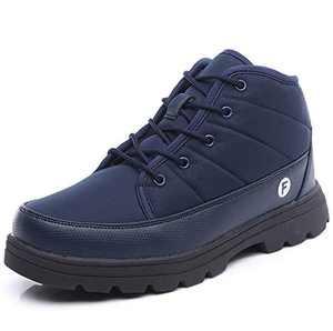 YIRUIYA Mens Winter Snow Boots Full Fur Lined Warm Short Ankle Waterproof Anti-Slip Shoes(Blue, 10.5 M US)