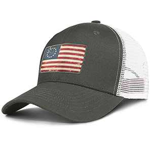 Thy Thou American Fish Flag Denim Hats for Men Adjustable Dad Hat Trucker Baseball Cap for Outdoor Fishing Gifts (One Size, Green)