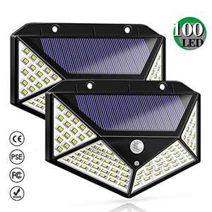 Solar Motion Sensor Lights 100 LED Wireless Motion Sensor Light 270° Wide Angle Super Bright Lighting, Suitable for Installation On The Side of The House, Walls, Aisles, Garages, 2 Pack