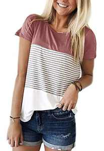 Womens Summer Color Block Striped Tee Shirts Casual Loose Short Sleeve Blouses Tops for Juniors Pink