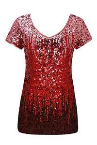 Radtengle Sparkly Tops for Women, Sequin Top Women's Tunic Summer Short Sleeve V Neck Party Tunic Tops(Red,Small)