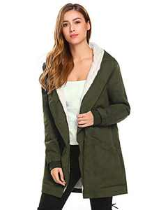 Misakia Women's Winter Mid Length Thick Warm Faux Lamb Wool Lined Jacket Coat Hip Length (Army Green S)