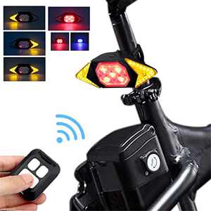 Bike Tail Light with Turn Signals Wireless Remote Control Red Rear Light USB Rechargeable Cycling Back Light fit Mountain Road Commuting Bicycle (Upgrade Bike Tail Light with Turn Signals 5 Modes)