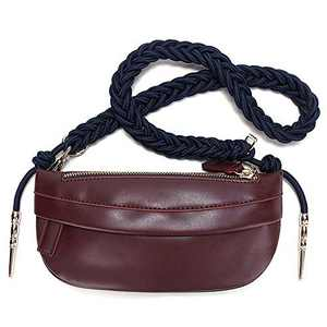FEITH&FELLY Women Fashion Small PU Leather Waist Pack Braided Knot Strap Trendy Chest Bag