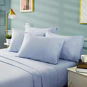 BYSURE 6 Pieces King Bed Sheet Set - 1800 Soft Durable Brushed Microfiber, 15 Inch Deep Pockets, Wrinkle & Fade Resistant (King, Ice Blue)