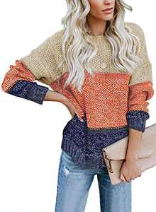 LOSRLY Womens Chunky Color Block Crew Cable Knitted Loose Casual Pullover Sweaters L Brown