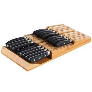 NIUXX Bamboo In-Drawer Knife Block Set for 16 Knives(Not Included), Large Kitchen Detachable Washable Cutlery Slot Organizer Storage Holder for Sharpening Steel and Cutter