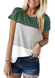 Womens Summer Color Block Striped Tee Shirts Casual Loose Short Sleeve Blouses Tops for Juniors Green