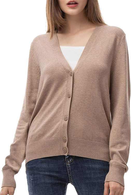 Woolen Bloom Women Button Down V Neck Cardigan Long Sleeve Solid Color Knit Cardigan Jumper Basic Lightweight Outwear