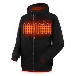 CLIMIX Heated Hoodie for Men Women, Lightweight Heated Sweatshirt with Battery Pack (Unisex) (M, Black)