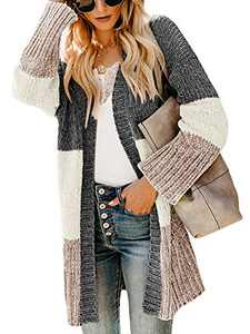 Yacooh Women's Striped Long Sleeve Loose Knit Cardigan Sweater Color Block Chunky Cable Open Front Warm Jumper Coat