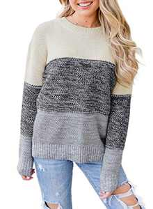 LOSRLY Womens Crew Neck Long Sleeve Color Block Stripe Pullover Sweater L Gray