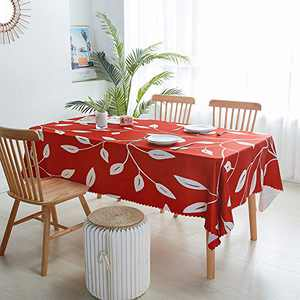 LIVILAN Table Cloth Water Resistant Wrinkle Resistance Oil Proof Heavy Weight Soft Tablecloth for Kitchen Dinning Tabletop Decoration Oblong 89 x 60 Inch Red