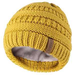 FURTALK Kids Girls Boys Winter Knit Beanie Hats Bobble Ski Cap Toddler Baby Hats 2-8 Years Old,Yellow